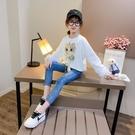 衣童趣(•‿•)韓版女童 可愛貓咪T恤 甜美紗網袖 蝴蝶結長袖上衣