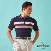 【Emilio Valentino】范倫鐵諾英倫風格狀色橫條紋POLO衫 - 藍