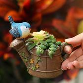 創意田園卡通小鳥多肉花盆微景觀個性可愛小盆栽樹脂裝飾擺件