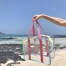 透明包 夏天旅游大容量單肩包可愛度假沙灘果凍包彩色包防水包透明包 星河光年