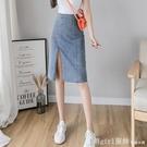 短裙 顯高搭配高腰中長款牛仔裙150開叉半身裙過膝裙夏天 618購物節
