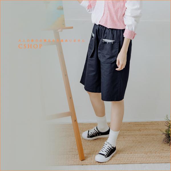 褲子 小男孩立體口袋五分棉麻褲 三色-小C館日系