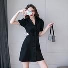 洋裝V領西裝鏤空連身裙S-XL西裝連身裙法式氣質小裙子鏤空小黑裙連身裙6161 6F-647-B 韓依紡