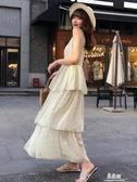 半身洋裝V領碎花雪紡洋裝女新款夏超仙A字仙女裙高腰顯瘦波點吊帶裙(快速出貨)