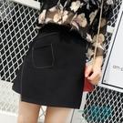 秋春百搭不規則半身裙高腰顯瘦A字包臀裙女學生大碼黑色短裙「」
