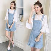 夏季新款韓版顯瘦荷葉邊牛仔背帶裙套裝女學生小清新兩件套洋裝