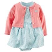 【美國Carter's】套裝2件組-粉嫩蝴蝶小碎花包屁式洋裝+純棉小外套 121D579