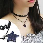 頸鍊簡約雙層波浪蕾絲星星頸鍊項圈 韓版女短款鎖骨鍊項鍊 復古脖子鍊