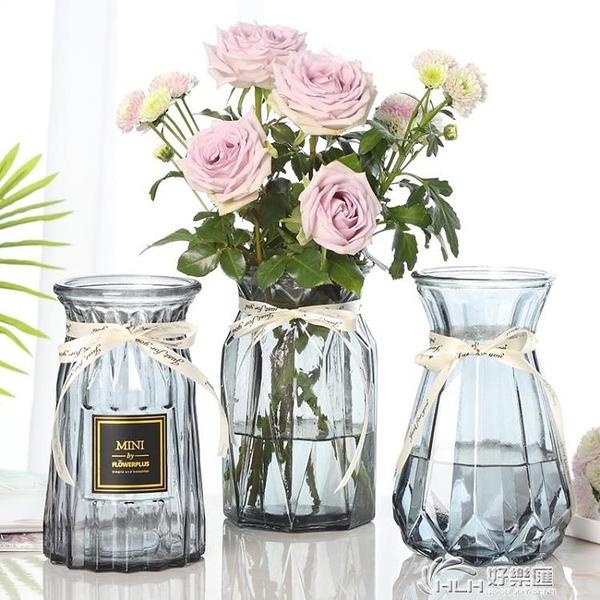 【三件套】玻璃花瓶彩色透明水培富貴竹百合條紋花瓶客廳插花擺件好樂匯
