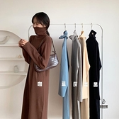 針織連身裙女秋冬長款高領毛衣打底裙黑色內搭長裙【愛物及屋】