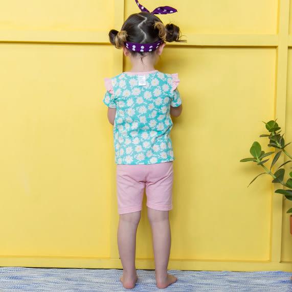 套裝 韓國 Bebezoo 水藍底滿版小雛菊短袖上衣+粉色短褲 套裝2件組 OL17-ST203