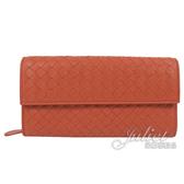 茱麗葉精品 全新精品 BOTTEGA VENETA 261995 經典手工編織小羊皮扣式長夾.橘