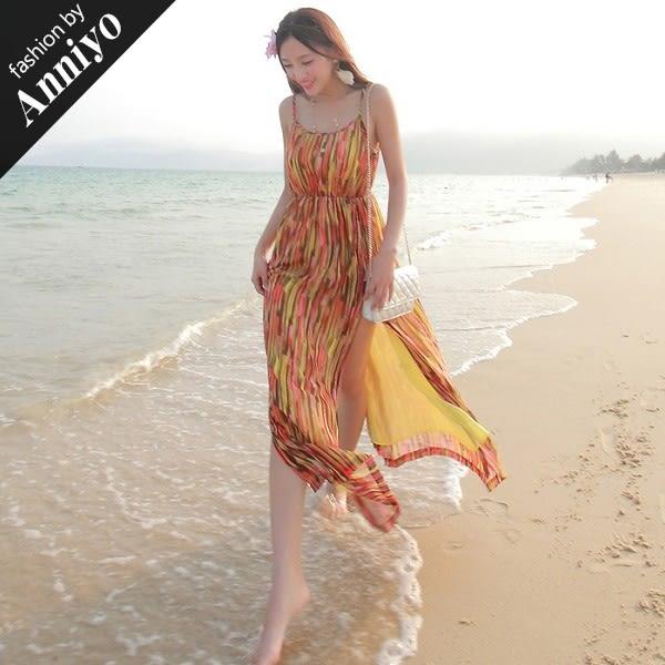 Anniyo安妞‧細肩帶裙襬雙側開叉修身顯瘦波希米亞海邊度假條紋雪紡長裙沙灘裙長洋裝 豎條橘
