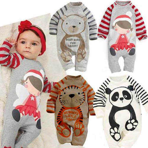 長袖連身衣 新年聖誕男女寶寶印花 包屁衣 W61070