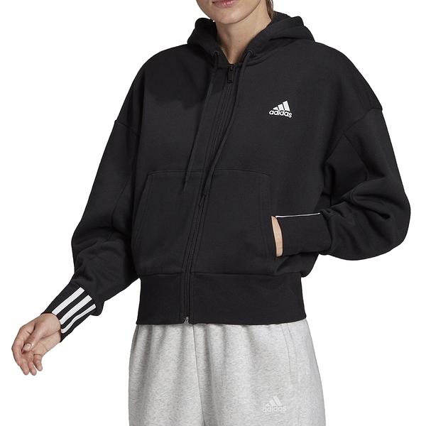ADIDAS 女款外套 連帽外套 慢跑運動健身 黑 FR5120