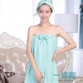 全館83折 美容院浴裙可穿浴巾裹胸抹胸女春季加厚汗蒸比純棉吸水成人家居服