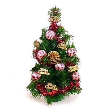 【南紡購物中心】【聖誕限定】台灣製迷你1呎/1尺(30cm)裝飾聖誕樹(金松果糖果球色系)