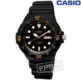 CASIO / MRW-200H-1E / 卡西歐潛水勇者簡潔時標防水橡膠手錶 黑金色 42mm