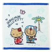 小禮堂 Hello Kitty x 哆啦A夢 方巾 手帕 小毛巾 純棉 割絨 25x25cm (藍白 沙灘) 4992272-69989