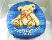 ~震撼  ~ 泰迪熊_STEADY BEARS 圓形靠枕坐墊~藍格紅格紅藍~共四款