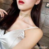 金色性感隱形頸錬chocker鎖骨錬女脖子飾品頸帶韓版短款項錬 黛尼时尚精品