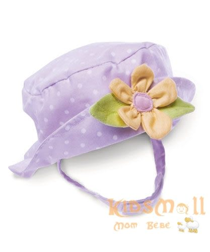 美國Bunnies By The Bay海灣兔,紫小兔小黃花遮陽帽(3~12M),Bloom's Blooming Hat