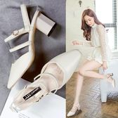 網紅涼鞋女超火ins潮夏季新款仙女風百搭包頭粗跟高跟羅馬鞋 蘑菇街小屋