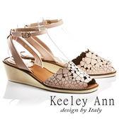 ★2017春夏★Keeley Ann氣質甜美~小清新四葉草全真皮魚口楔形涼鞋(粉紅色)