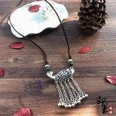 手工復古棉麻藏銀吊墜項鏈民族風中長款花朵百搭毛衣鏈女簡約配飾【聖誕交換禮物】