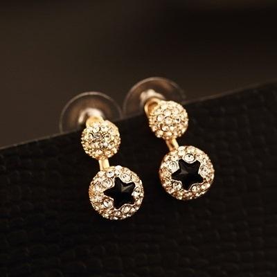 耳環 玫瑰金純銀鑲鑽-五星滿鑽生日情人節禮物女飾品73ca226【時尚巴黎】