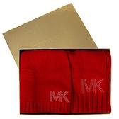 艾莉莎國際【現貨】MICHAEL KORS 水鑽鉚釘LOGO毛帽圍巾禮盒組(紅色)-537817