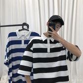 POLO衫  港風條紋夏季百搭潮流短袖寬鬆潮牌韓版Polo學生T恤『優尚良品』