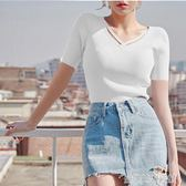 2018新款前交叉V領短款針織純色冰絲t恤女修身顯瘦套頭打底上衣潮