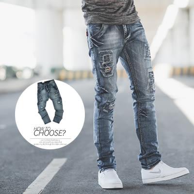 牛仔褲 立體刷色造型補丁配色織帶牛仔褲【N9782J】