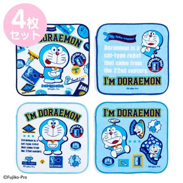 小禮堂 哆啦A夢 純棉手帕4入組 16x16cm (藍吐舌款) 4550337-04470