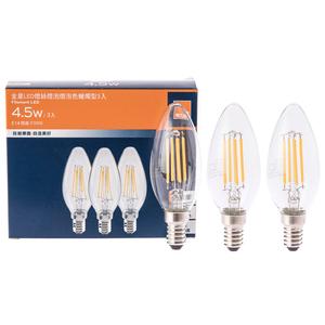 特力屋 金星 LED燈絲燈泡 4.5W 蠟燭型 燈泡色 E14燈座適用 全電壓