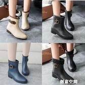 春秋中筒女雨鞋韓版短筒休閑加絨雨靴防滑膠鞋平跟套鞋防水鞋 創意新品