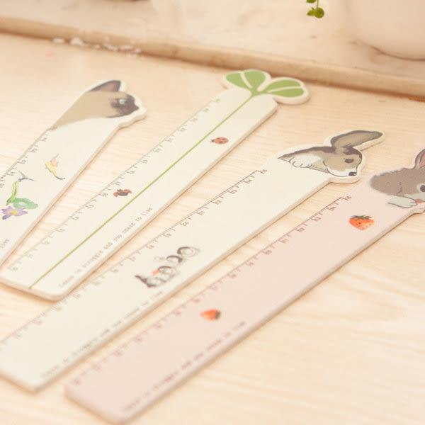 【發現。好貨】韓國創意彩繪動物 兔子 貓咪 幸運草 小狗 木直直尺 學生專用尺 15公分 卡通尺