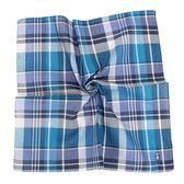 Munsingwear 拼色長方格刺繡logo純綿紳士帕巾(海藍色)989262-1