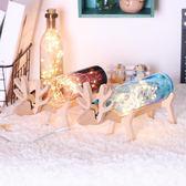 小鹿夜燈手工玻璃瓶台燈少女心房間新年裝飾臥室創意瓶子燈麋鹿燈-Ifashion IGO