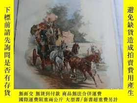 二手書博民逛書店【罕見】1890年套色木刻版畫《歡快的馬車》(Mail-Coac