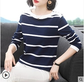 長袖t恤女2021秋裝新款寬鬆棉質媽媽上衣外穿中年洋氣打底衫 百分百