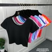 露臍上衣顯豐滿純棉短款緊身上衣女性感露臍紫色T恤短袖修身夏季高腰打底 萊俐亞
