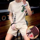 夏季中國風棉麻套裝男刺繡兩件套青年亞麻短袖t恤大碼短褲男裝潮