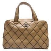 CHANEL 香奈兒 奶茶色牛皮黑色縫線手提包 Wild Stitch Boston Bag【BRAND OFF】