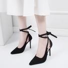 34-42碼 大碼女鞋高跟鞋女春夏百搭性感羅馬鞋細跟尖頭綁帶涼鞋41 快速出貨