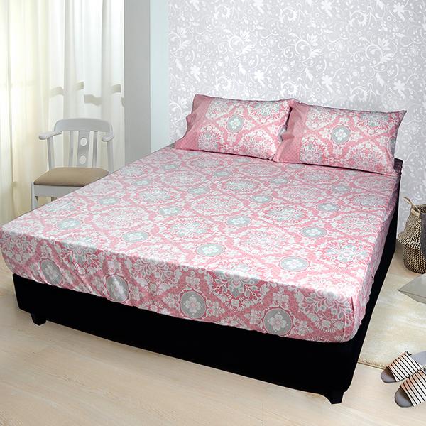 【FITNESS】精梳棉單人床包+枕套二件組-尊爵貴族(粉)_TRP多利寶