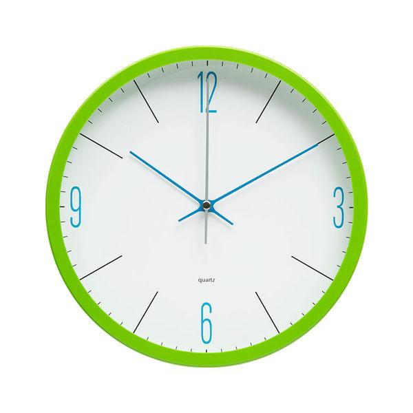 Lovel 25cm潔淨藍白膠框靜音時鐘-綠(P250BL-G)