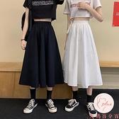 半身裙長裙夏季女長裙高腰學生顯瘦中長款裙【大碼百分百】