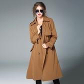 風衣大衣-棉質純色雙排扣肩章長款女外套2色73pk7【巴黎精品】